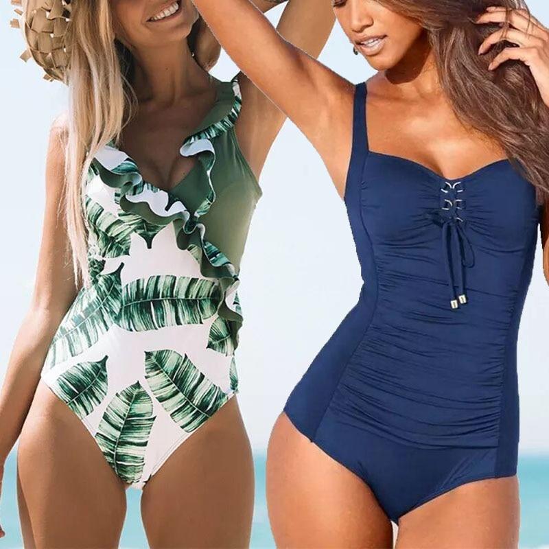 Monokini Bodysuit Tummy-Control Push-Up swimwear One-Piece Beach Women Plus-Size