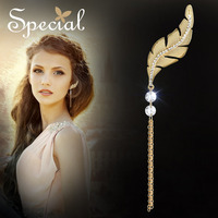 100% handmade Europe tassels Bohemia Fringe gold leaf CZ gold Drop for Women Hot Brand Fashion Jewelry