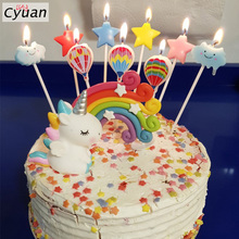 Cyuan Rainbow Unicorn Cake Topper Toppers Decorative Flags Childrens Party Horn Cloud Decoration Supplies