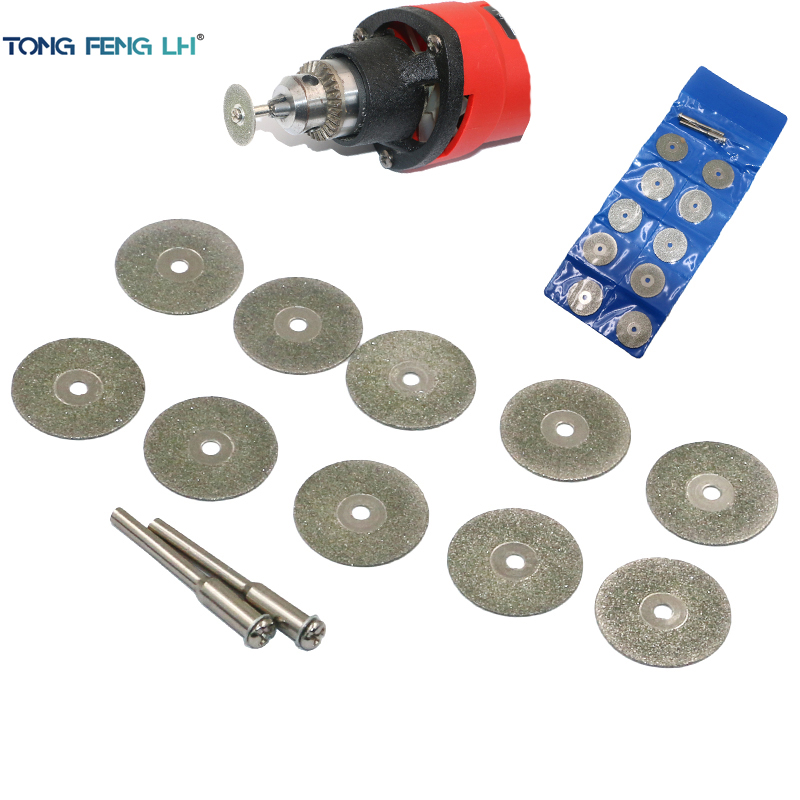10psc 22mm Dremel Diamond Cutting Disc Rotary Tools Accessories Set With Mandrel 2pcs 3mm