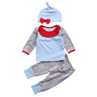 2017 Babies Long Sleeve Clothing 3PCS Set Newborn Baby Girls Boy Tops T-Shirt Romper Long Pants Outfits Clothes