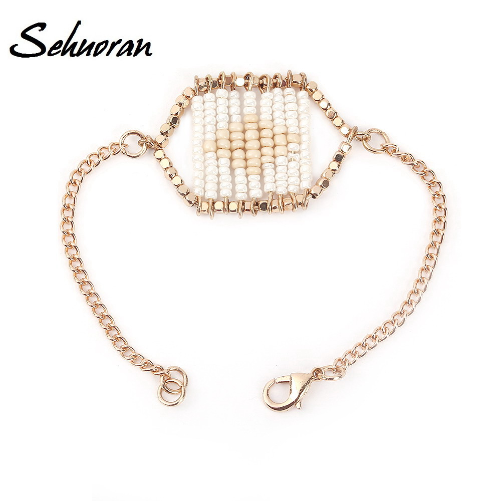 Sehuoran Strand Bracelets High Quality Multi-Row Glass Beads Dintinctive Trendy HandMake Bracelets & Bangles For Women