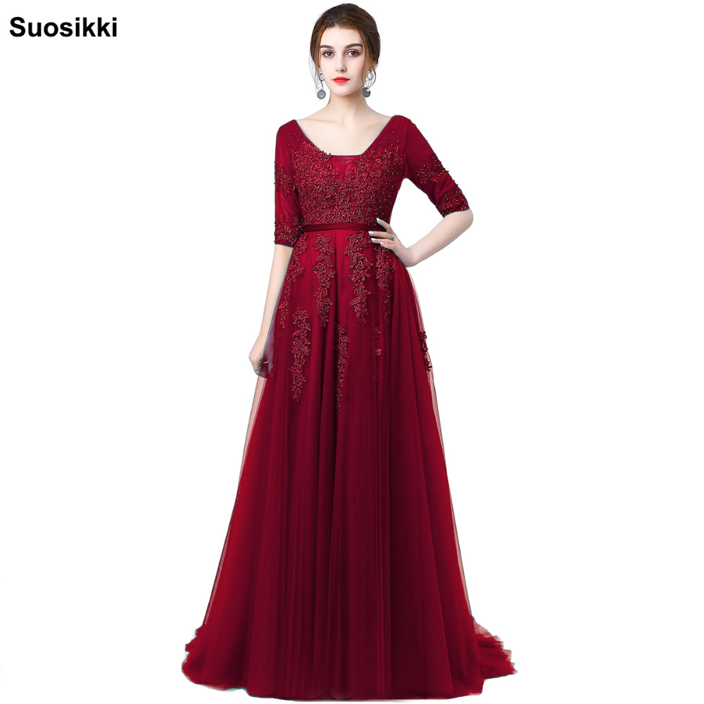 Sexy Backless Long Evening Dress Vestido de Festa A line appliques beading gown Half Sleeved robe