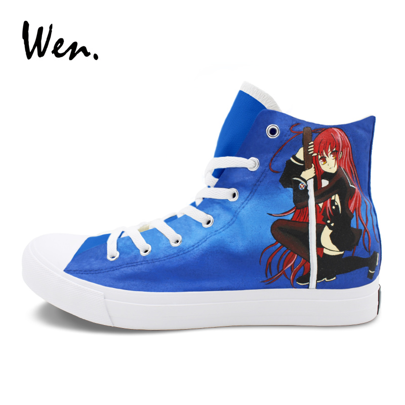 Wen Hand Painted Canvas Shoes Custom Design Shakugan No Shana Hecate Graffiti Painting Sneakers Athletic High Top Plimsolls wen sneakers colorful ice cream hand painted canvas shoes white high top plimsolls original design graffiti single shoes flat