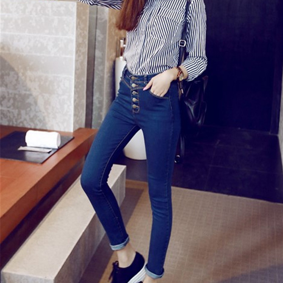 2017 autumn high waist skinny jeans women full length denim pants female plus size 8xl fly high  trousers pencil Pants sexy diamond sequined scratched pencil pants washed low waisted full length denim women jeans trousers womans plus size