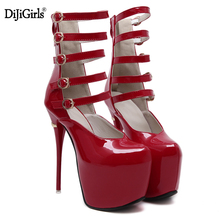 Extreme high heels Brand sexy Superstar Ankle Strap buckle red bottom Woman Platform Gladiator Women Thin Heel Shoes