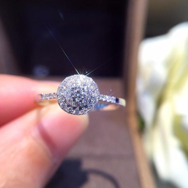 天然ダイヤモンドリング 18 18k 純金結婚式本物の 750 固体クラシックトレンディ女性ホット販売プレゼントドロップ配送パーティー 2020 新