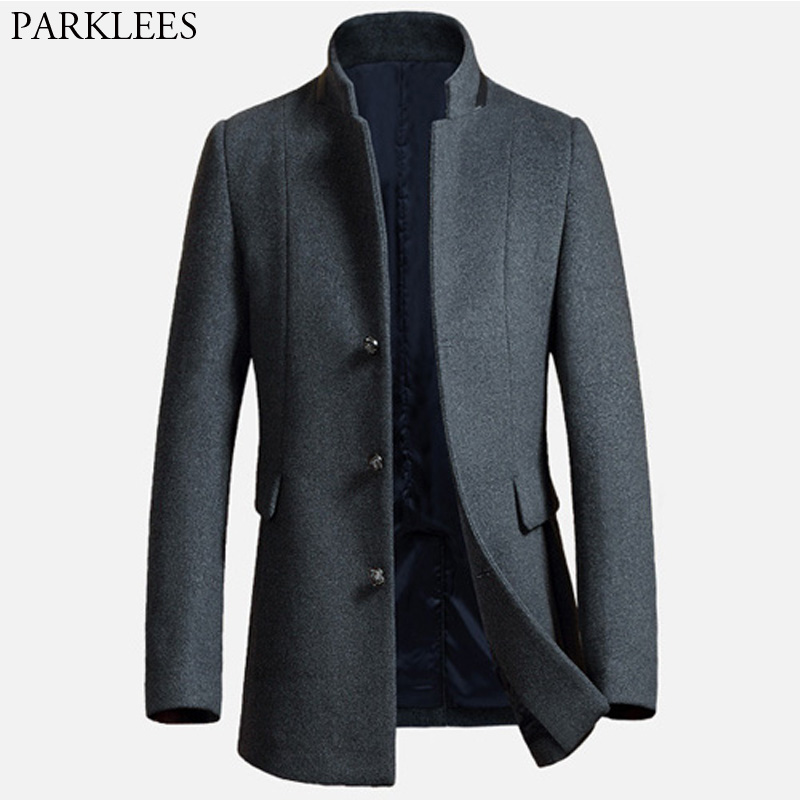 long wool trench coat men 2017 new wool blends winter men overcoat casual mens pea coat jacket. Black Bedroom Furniture Sets. Home Design Ideas