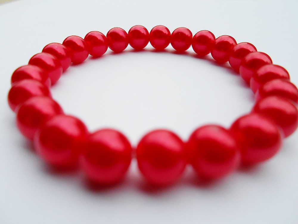 {2019 moda czerwona bransoletka perłowa, dobra jakość seksowna perła czerwona bransoletka dla kobiet, fabryka biżuterii czerwona sztuczna bransoletka perłowa