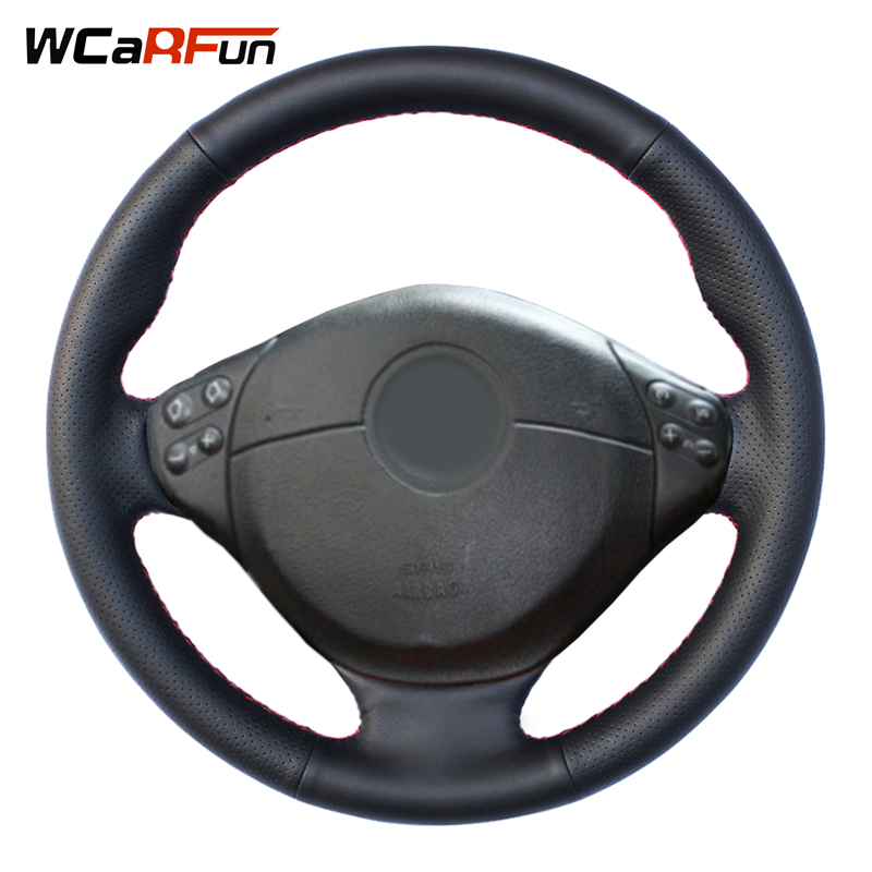 WCaRFun Noir Artificielle En Cuir Couverture De Volant de Voiture pour BMW E39 5 Série 1999-2003 E46 3 Série 1999-2005 E36 E53 X5 Z3