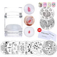 Nail Art Stamping Plates Flower Animal Panda Round Stamping Template Plate Dual-ended Rhinestone Stamper DIY Manicure Stencil