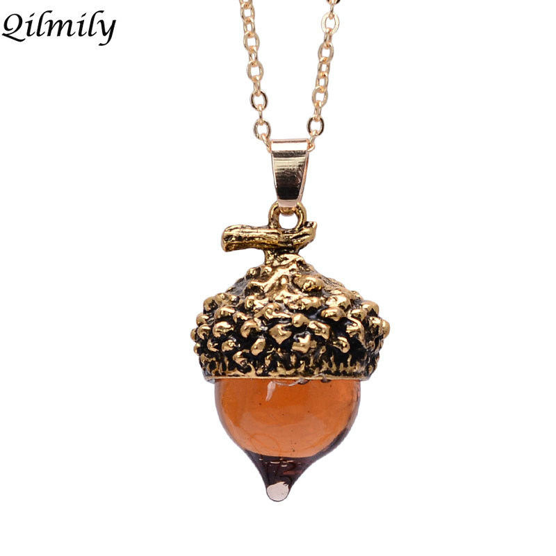 Qilmily Drop Pendant Necklace Sweater Chain Nuts Jewelry Gift Glass Antique Acorn Crystal