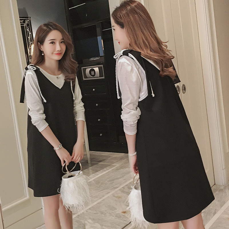 Maternity Dress 2018 New Spring Black Vest Dresses Pregnant Women Clothes Full Sleeves Solid Color Casual Cotton Clothing 5mc014