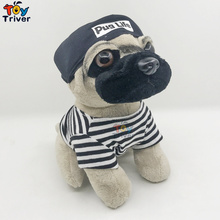 23cm Simulation Plush Pug Dog Puppy Stuffed Dogs Doll Baby Kids Children Creative Birthday Gift Home Shop Decor Drop Shipping недорого