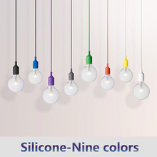 E27 lamp holder Silicone Household light bulb chandelier Decorative light bulb Multicolor LED chandelier base Wired lamp holder 7 in 1 e27 led bulb base light lamp holder