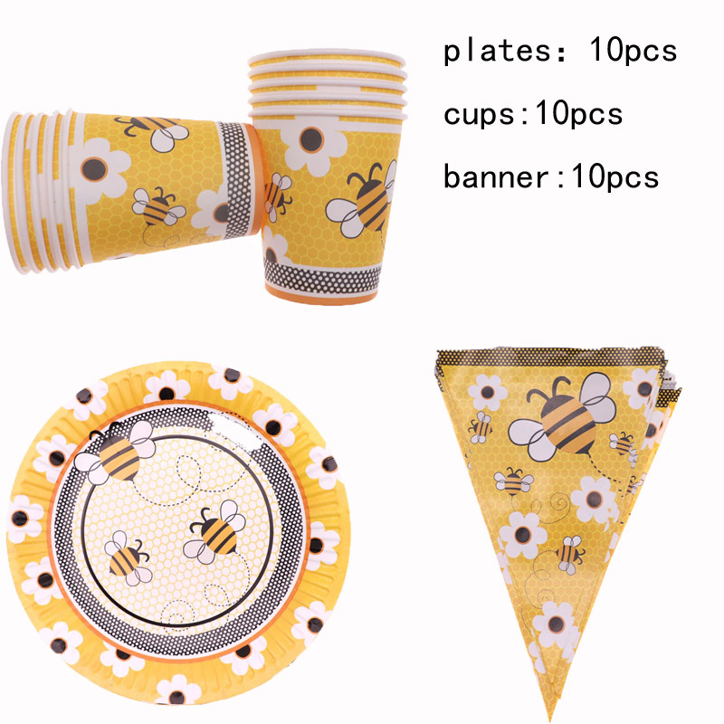 30Pcs Yellow <font><b>Bee</b></font> Theme Plates Cups Banners Disposable Tableware Happy Birthday <font><b>Party</b></font> Decoration For Kids Gifts <font><b>Party</b></font> <font><b>Supplies</b></font> image