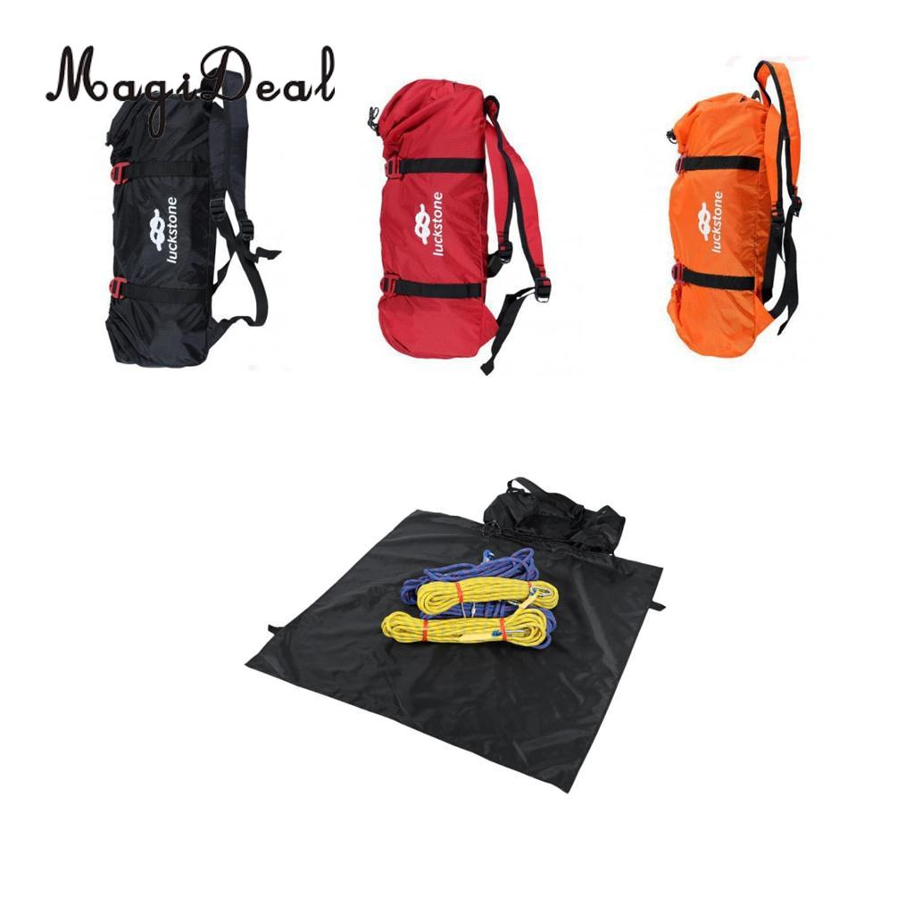 MagiDeal Ultralight Folding Rock Climbing Rope Bag Shoulder Straps Backpack Caving Mountaineering Equipment Holder Storage Bag xinda rock climbing handle control non confusion abseiling device stop descender outdoor rappelling rescue for 10 13mm rope