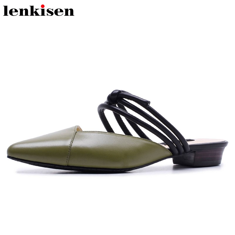 Lenkisen simple style summer cow leather solid pointed toe slingback shallow slip on low heel sand party sandals office lady L09