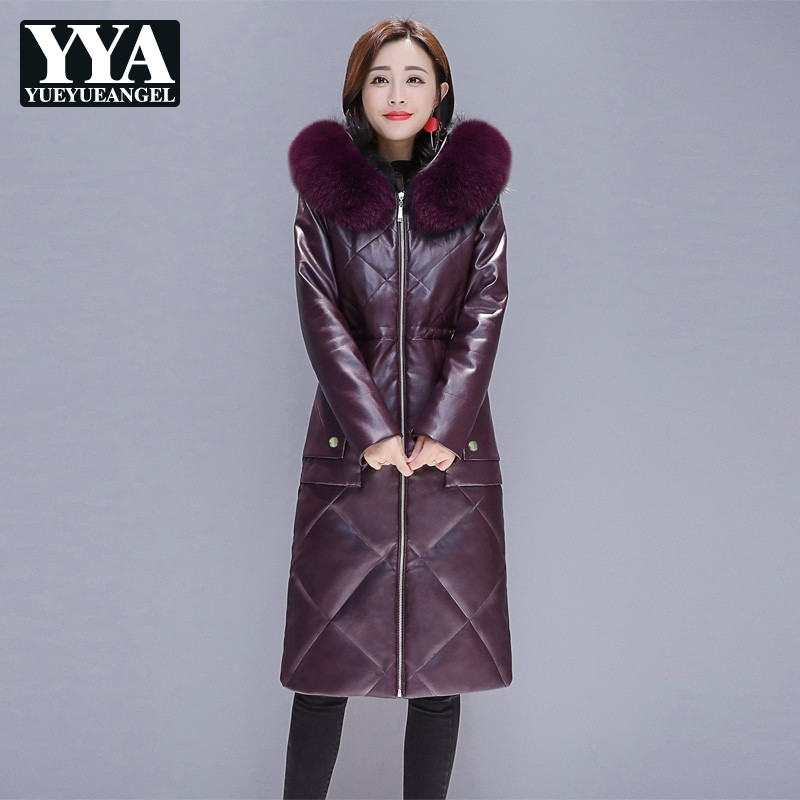 Luxury Elegant Warm Women Faux   Leather   Jacket Coat Hooded Faux Fox Fur Collar Long Down Jacket Slim Female Outerwear Fashion New