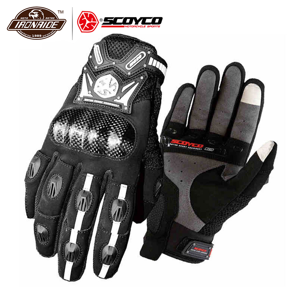 SCOYCO Breathable Motorcycles Gloves,Camouflage Full Finger PU Shell Protective Spring Summer Cycling Glove CAMO,M