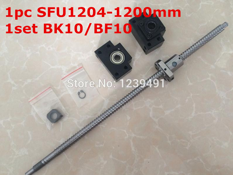 ФОТО sfu1204  rolled ballscrew  1200mm end machined+ 1set BK/BF10 Support cnc parts
