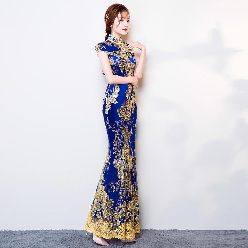 New Chinese Traditional Dress Women's Slim Cheongsam Embroidery Sequins Modern Oriental Long Qipao Evening Dresses