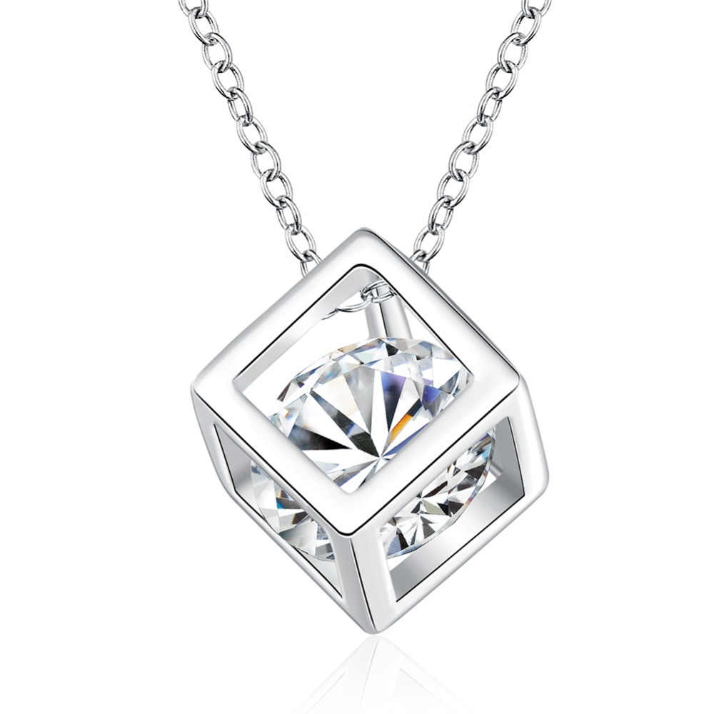 "Wholesales Jewelry 925 Sterling Silver Necklaces Square Pendant Cubic Zirconia CZ 18"" Chain Women Girl Summer Jewelry"