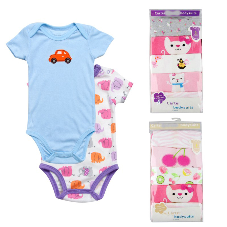 5 pcs/lot Baby Short-sleeve rompers baby boy jumpsuit Newborn cotton romper Jumpsuits & Romper