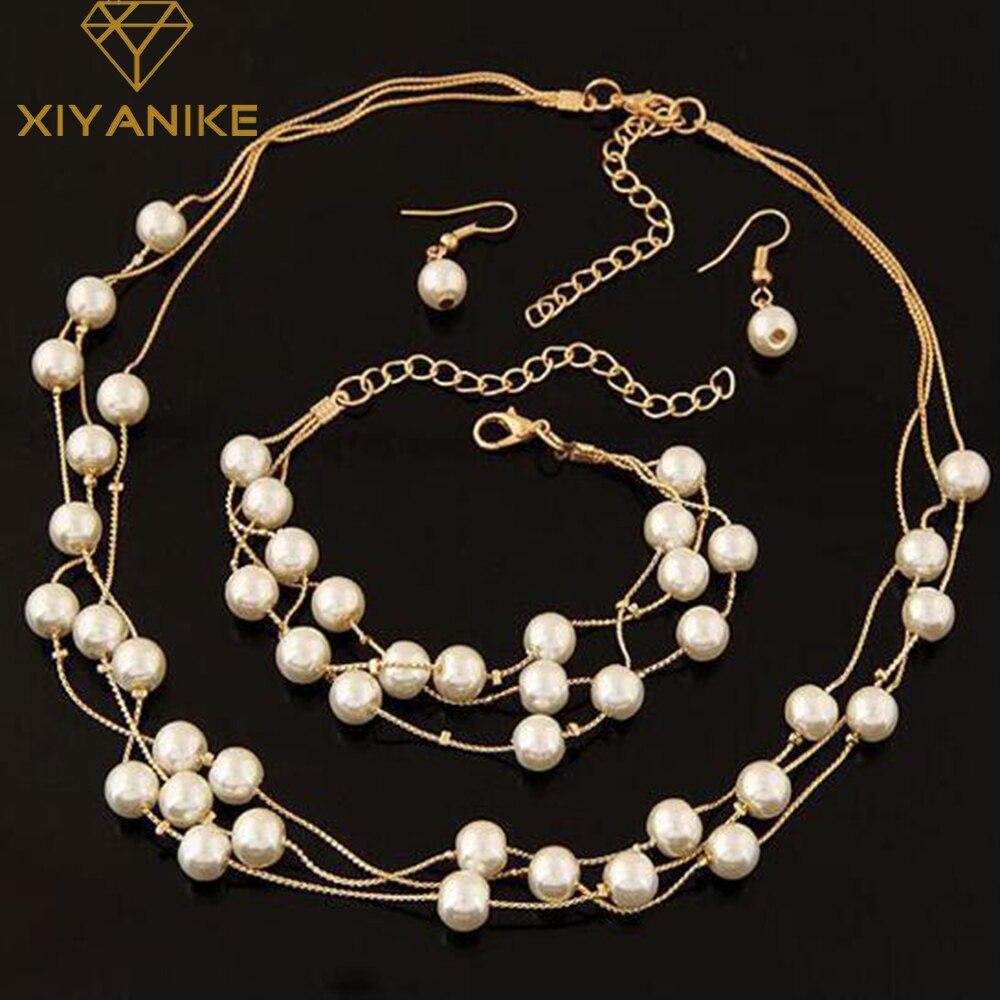 48fb1fd0a0ea Joyería de perlas de imitación simulado perla doble capa mujeres Pendientes  collar pulsera Sets para la boda n271