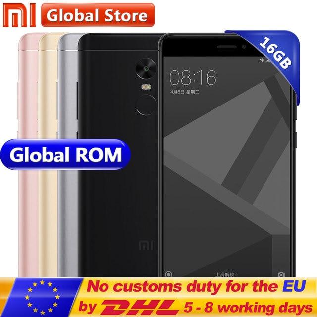 """Оригинальный Xiaomi Redmi Note 4x4x3 ГБ 16 ГБ мобильного телефона Redmi Note4X Snapdragon S625 Восьмиядерный 5.5 """"FHD 1920*1080 отпечатков пальцев ID"""