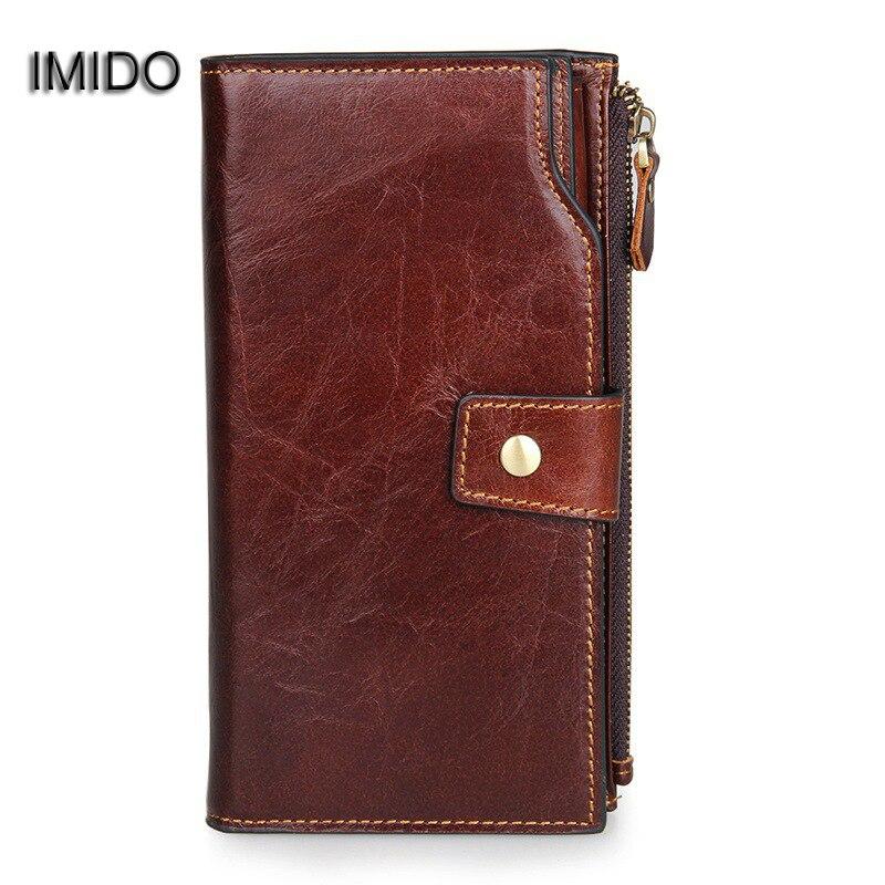 IMIDO Luxury Quality Cow Genuine Leather Wallet Men Card Holder Purse Male Long Wallets Clutch Coffee carteira masculina WT014 barton wallpapers фотообои f10102 200х270 см