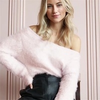 MUXU Autumn And Winter Sexy Lantern Sleeve Temperament Pearl Sweater long sleeve off shoulder sweter baggy pink
