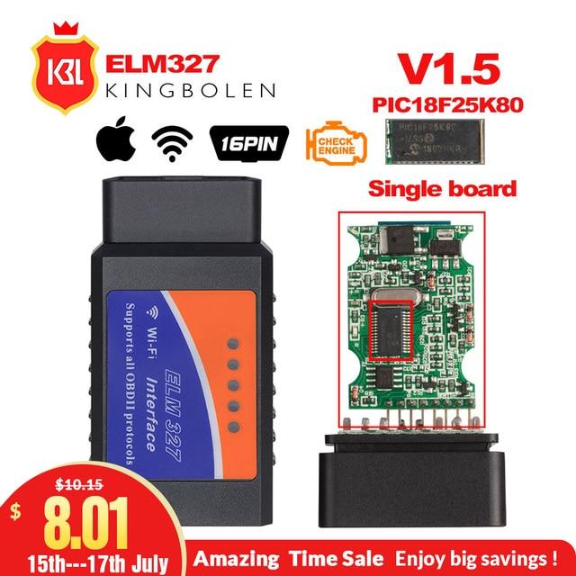 ELM327 V1.5 Bluetooth/Wifi OBD2 V1.5 Elm 327 Bluetooth PIC18F25K80 Chip OBD Auto Diagnostic Tool OBDII for Android/IOS/Windows