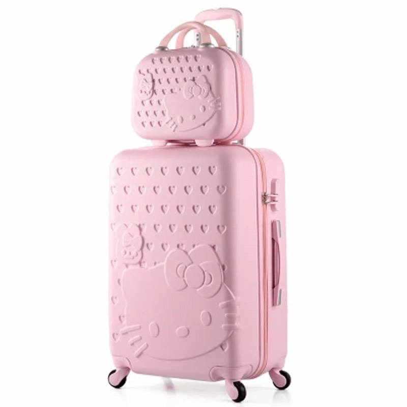 14+20 Inch Hello Kitty Suitcase,Spinner Rolling Luggage,Suitcases on wheels,Trolley Luggage Set,Travel bags,hello kitty luggage new 20 inch hello kitty spinner travel luggage suitcase sets kids student women trolleys rolling luggage ems dhl free shipping