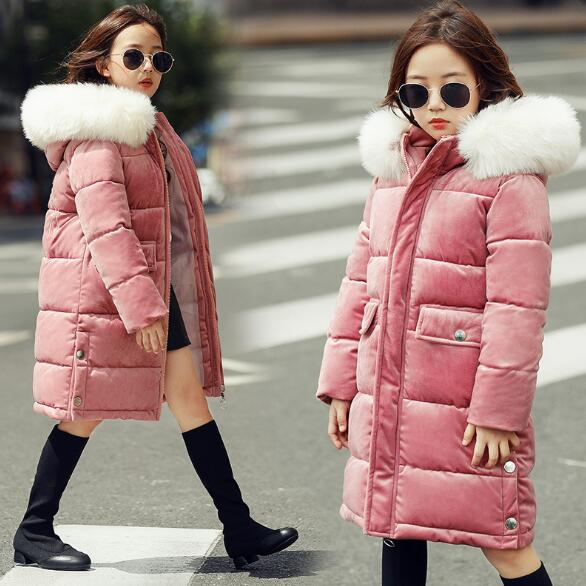 Girls Winter Coats 2018 New Winter Children Jackets Fashion Fur Collar Hooded Long Girls Parka Coats Thick Warm Kids Outerwear weixu fashion girls winter coat kids outerwear parka down jackets hooded fur collar outdoor warm long coats children clothing
