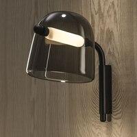 Современный настенный светильник Светло дымчатое серое стекло абажур железная прикроватная настенная лампа для чтения настенный ночник д