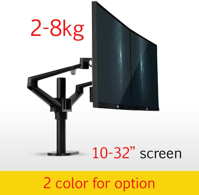 OL 2 10 32 aluminum double arm dual monitor desktop stand screen table holder computer mount