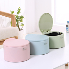 Creative Colorful Press Type Round Trash Can Office Desktop Household Mini Garbage Storage Cooking Non-toxic Odorless