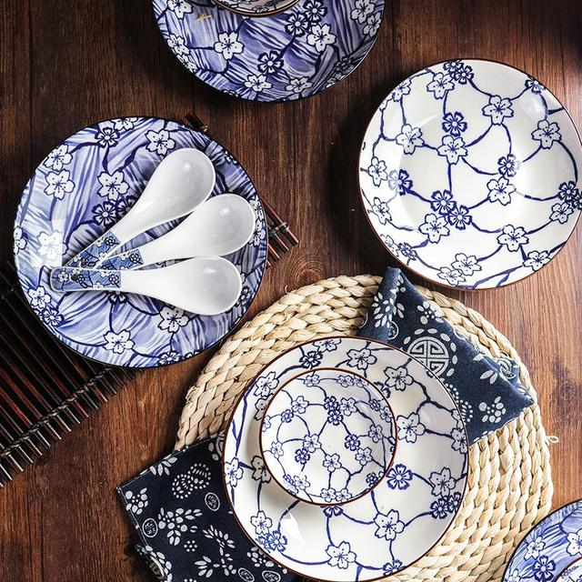 22Pcs/Set Round Shape Sakura Pattern Ceramic Tableware Set for Kitchen Dining Room