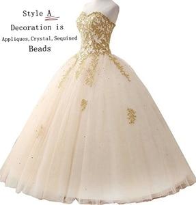 Image 3 - Angelsbridep GOLD Appliques บอลชุด Quinceanera 2020 ประกายคริสตัล Tulle ความยาวหวาน 16 Dress Debutante Gowns