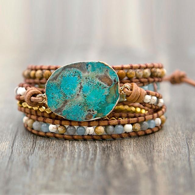 Bracelet En Jaspe Oceanique