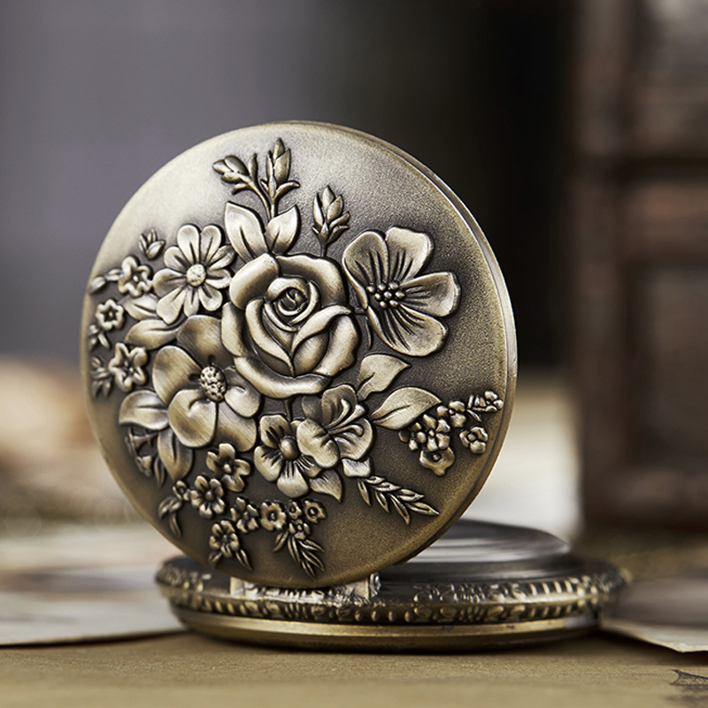 Ancient Pocket Watch Fob Chain Flower Rose Engrave Clock Mens Flip Bronze Case Watch Vintage Male Watches For Men Women Gifts