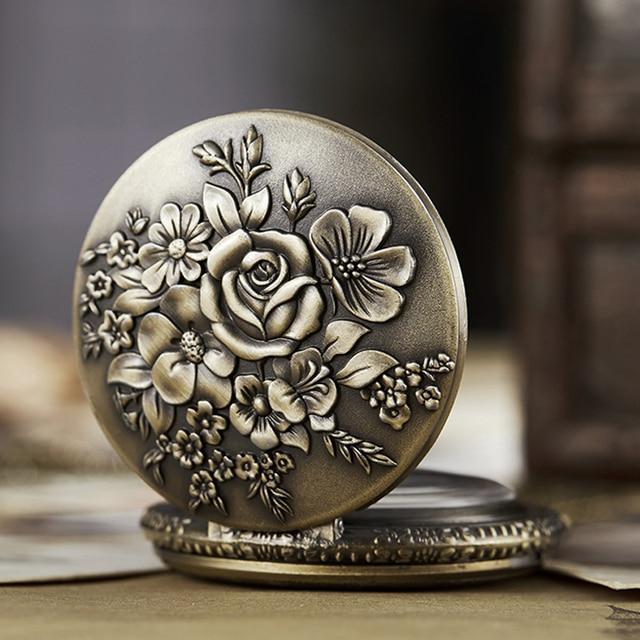 Ancient Pocket Watch Fob Chain Flower Rose Engrave Clock Mens Flip Bronze Case W