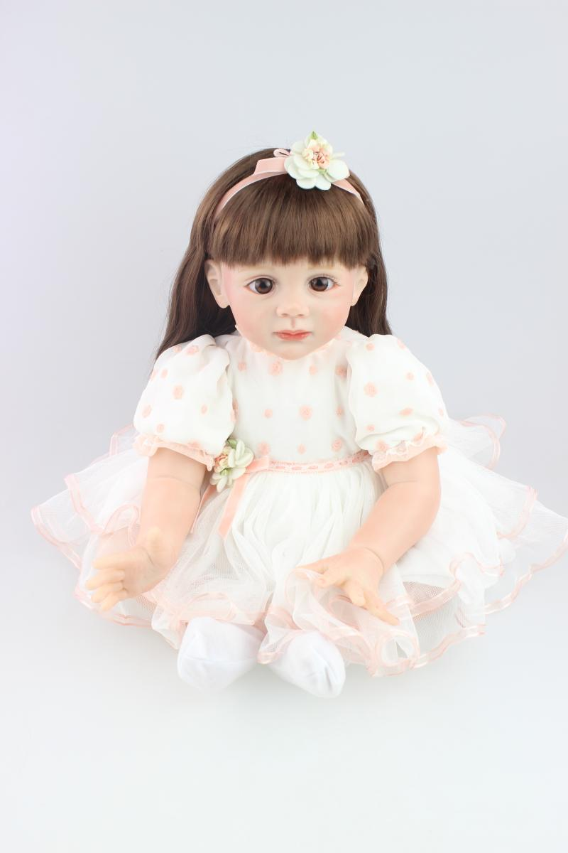 About 60cm Silicone reborn baby dolls high-grade lifelike pink princess girl Christmas birthday gift brinquedos for children cute silicone reborn baby dolls lifelike newborn baby brinquedos toys for children girl birthday christmas gift newest design