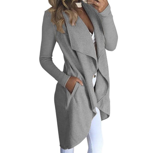 2018 moda Autunno grigio giacche Donna inverno irrugular Giacche cappotto  Slim lato cappotto punto Aperto maglia