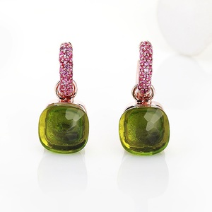 Image 4 - FORIS 14 Colors Fashion Rose Gold Color Pink Zircon Earrings For Women Gift Fine Jewelry