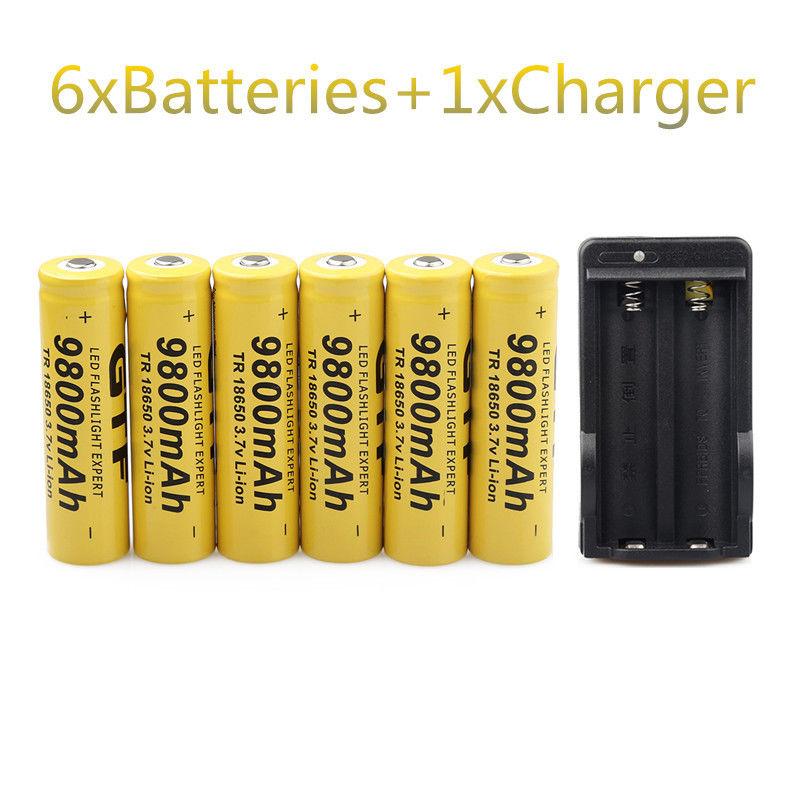 GTF 6PCS 3.7V 18650 Batteries 9800mAh Li-ion Rechargeable Battery For Flashlight +EU Battery Charger