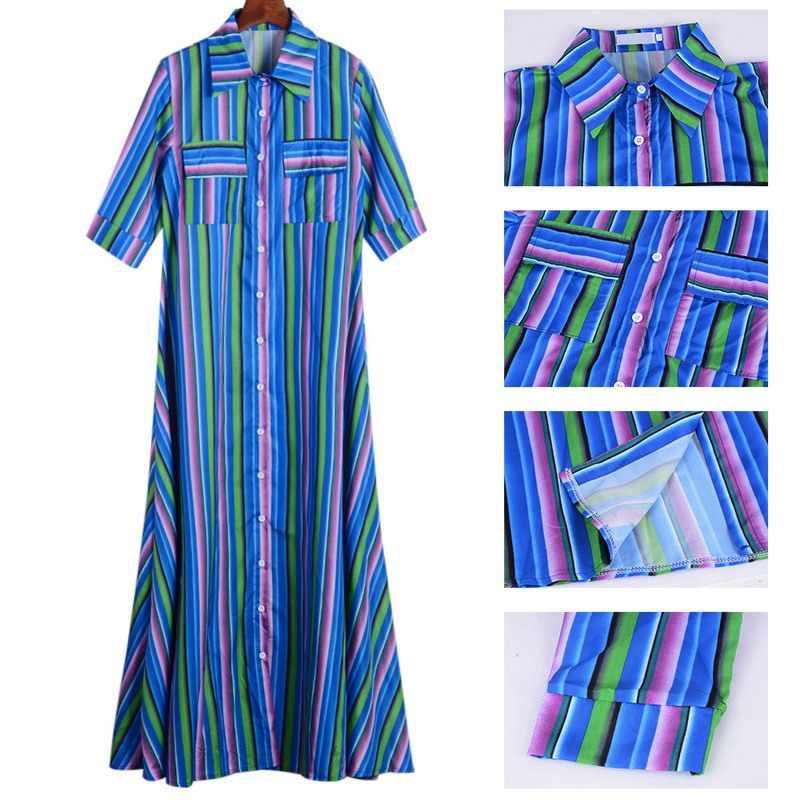 LITTHING летние женские платья макси с коротким рукавом женская цветная полосатая рубашка богемное пляжное длинное платье 2019 Новинка