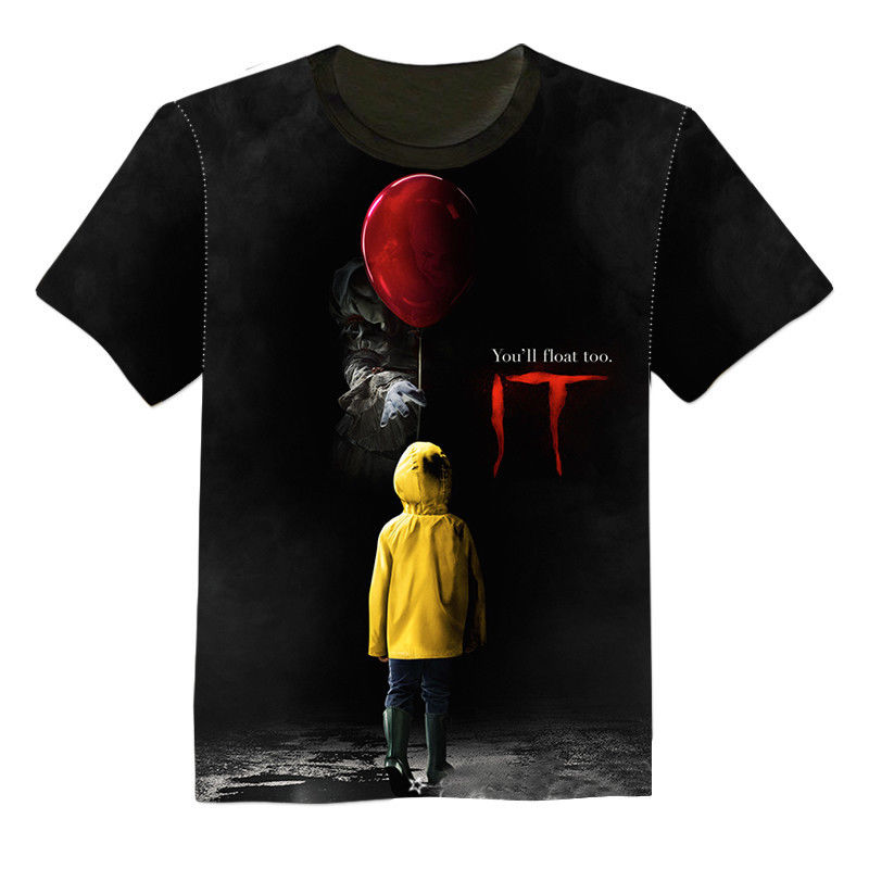NEW 3D Printed T-Shirt Stephen King It Movie 2018 Pennywise Horror Clown Men Women