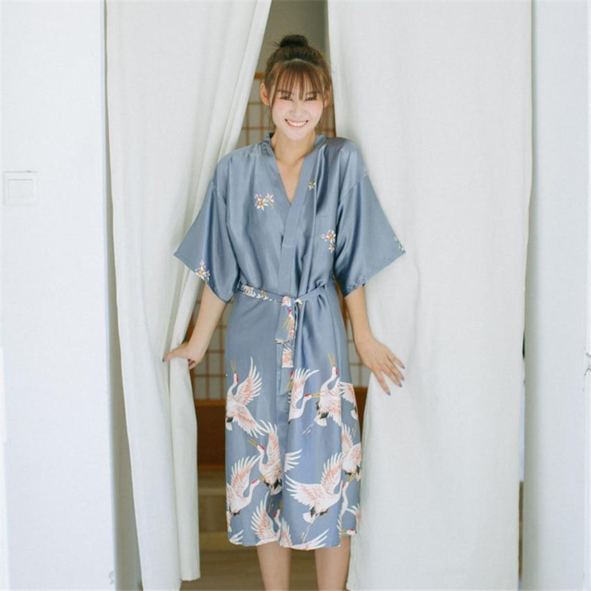 Haori Japanese Style Kimono Yukata Vintage Retro Party Crane Asian Clothes Night Gown Sleepwear Long Dress For Women Pajamas